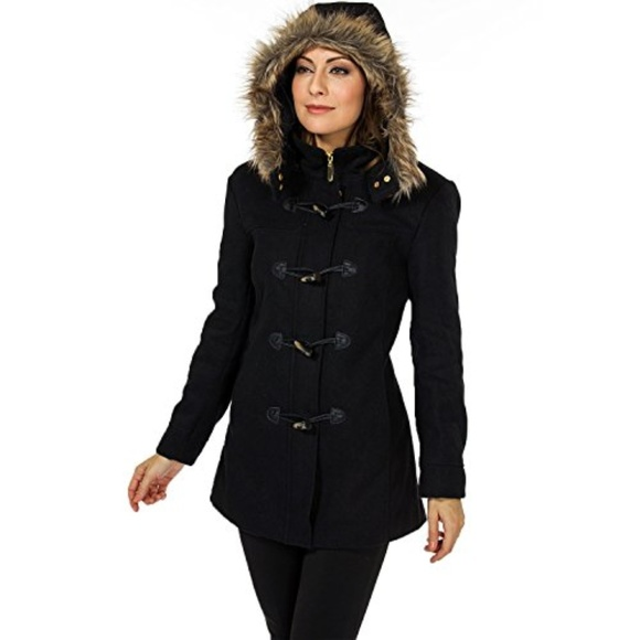 58decaa51 Alpine Swiss Duffy Wool Coat Fur Trim Hooded Parka Boutique